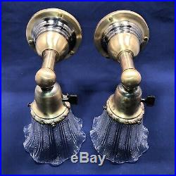 Wired Pair 1900s Arts & Crafts Brass Wall Sconces Vintage Shades Fixtures 19B